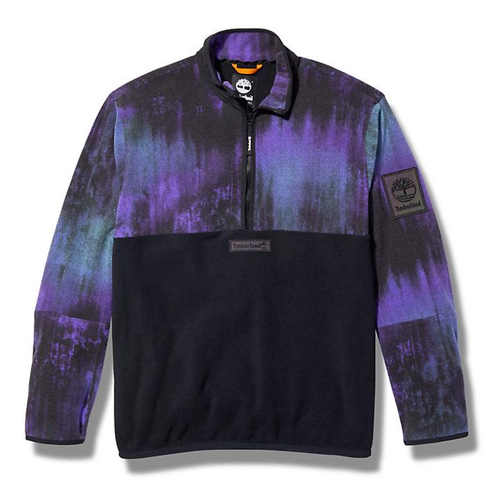 Northern Lights Sky Half-zip Fleece for Men with Aurora Print-
