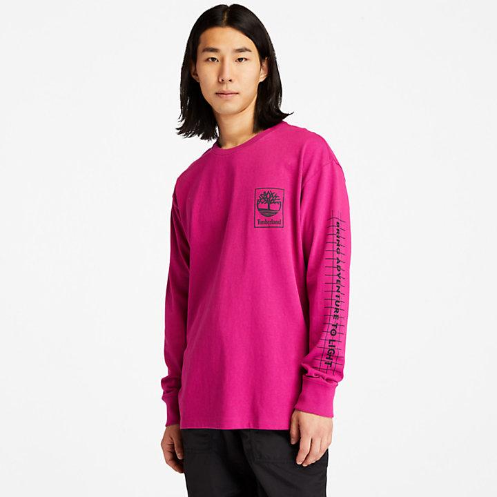 Camiseta con Estampado Gráfico LS NL Sky para Hombre en rosa-