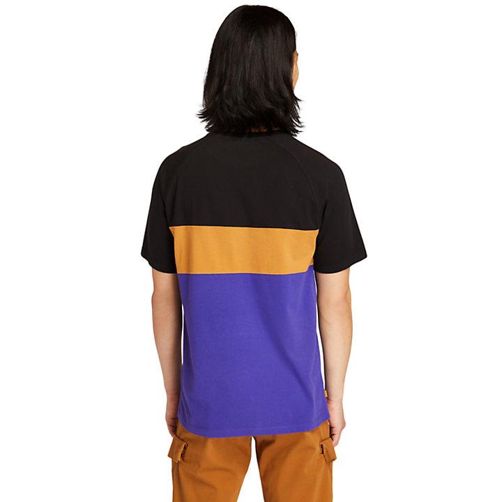 Cut-and-sew T-shirt voor heren in blauw-