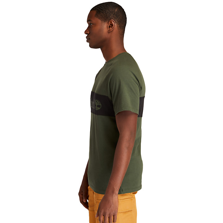 Cut-and-sew T-Shirt for Men in Dark Green-