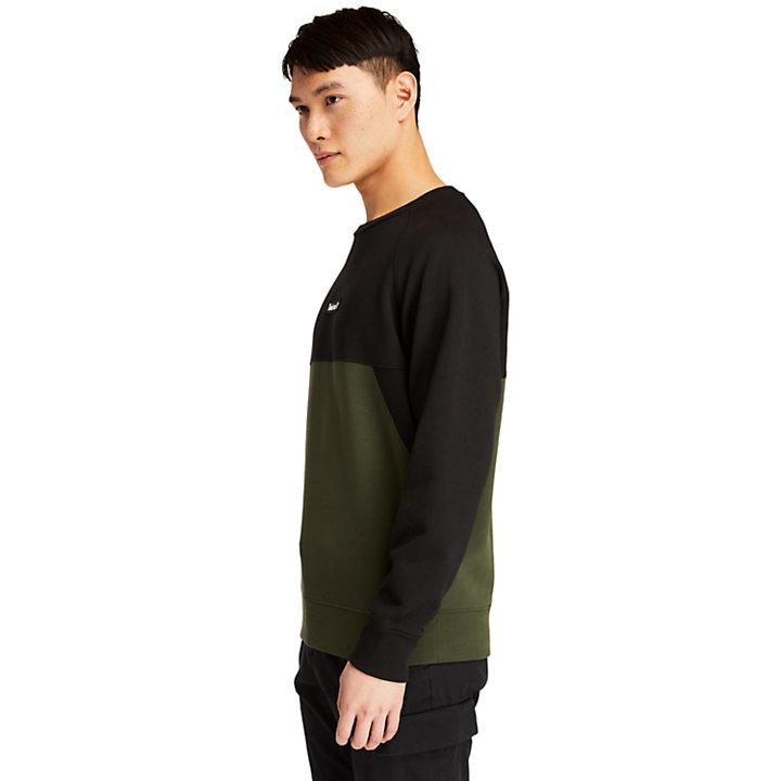 Cut-and-Sew Sweatshirt for Men in Dark Green-