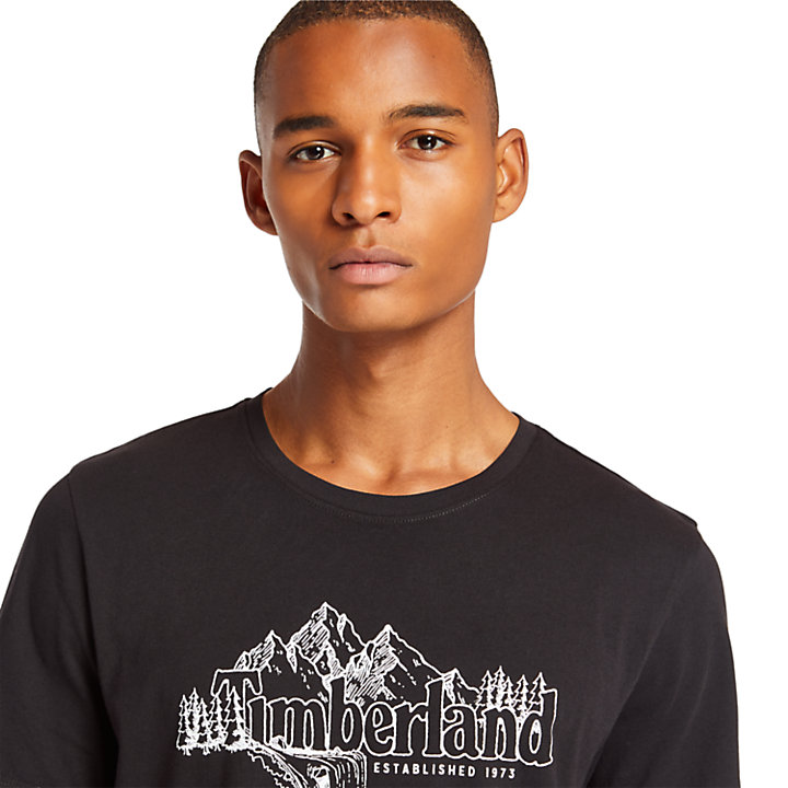 Linear Mountain T-Shirt für Herren in Schwarz-