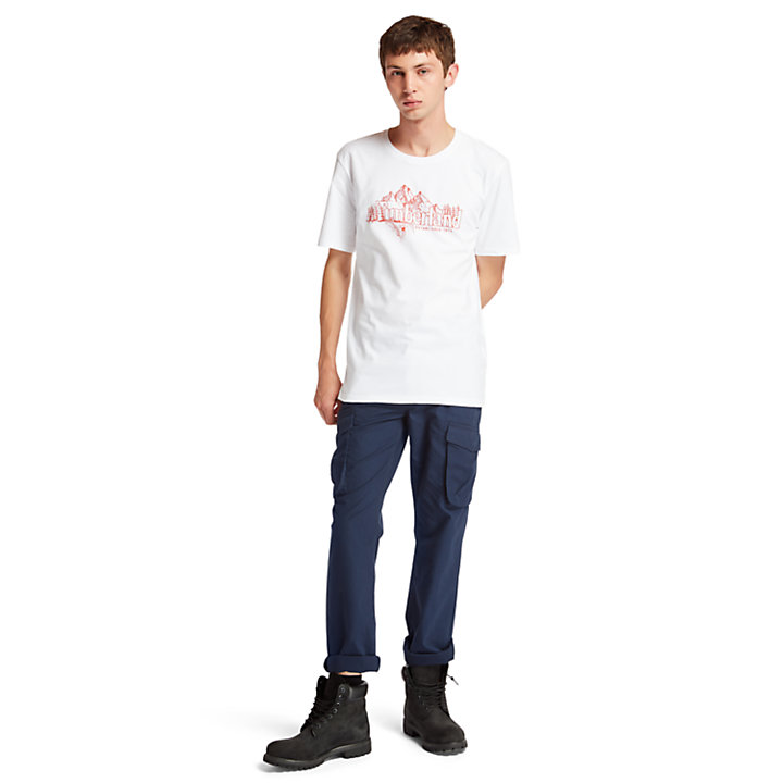 Linear Mountain T-Shirt für Herren in Weiß-