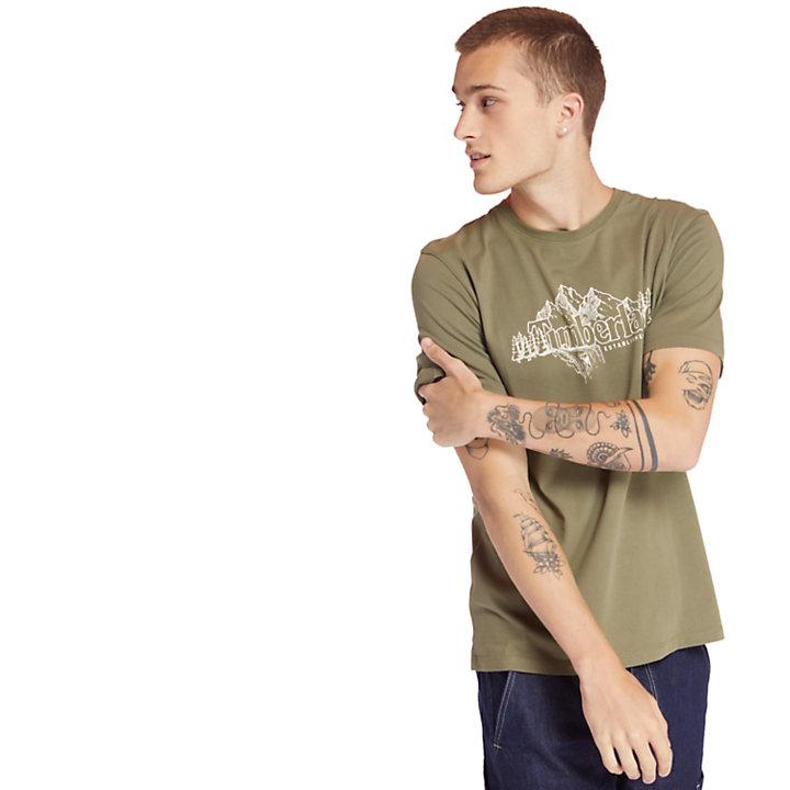 Linear Mountain T-Shirt für Herren in Grün-