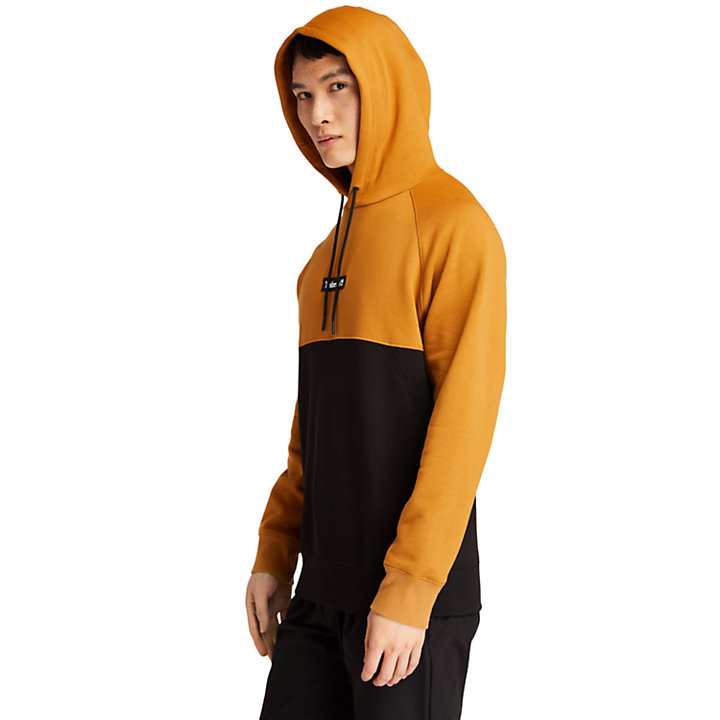 Cut-and-Sew Hoodie for Men in Yellow-