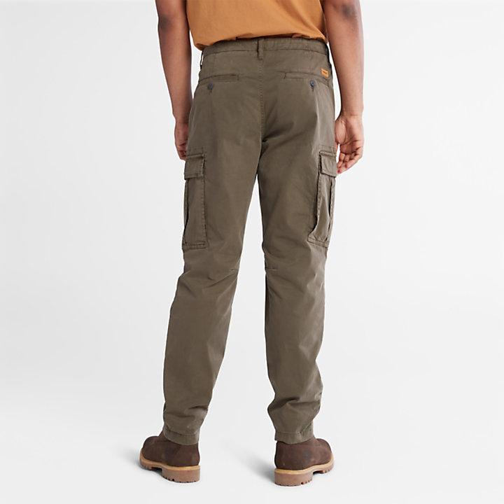 Pantalon cargo en sergé Core pour homme en vert foncé-