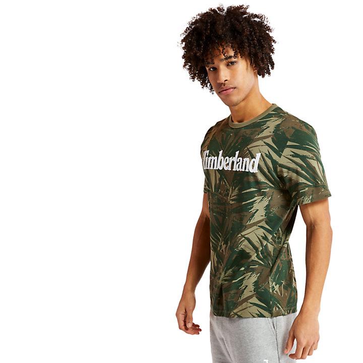 Camiseta con Estampado lineal de Camuflaje para Hombre en verde oscuro-