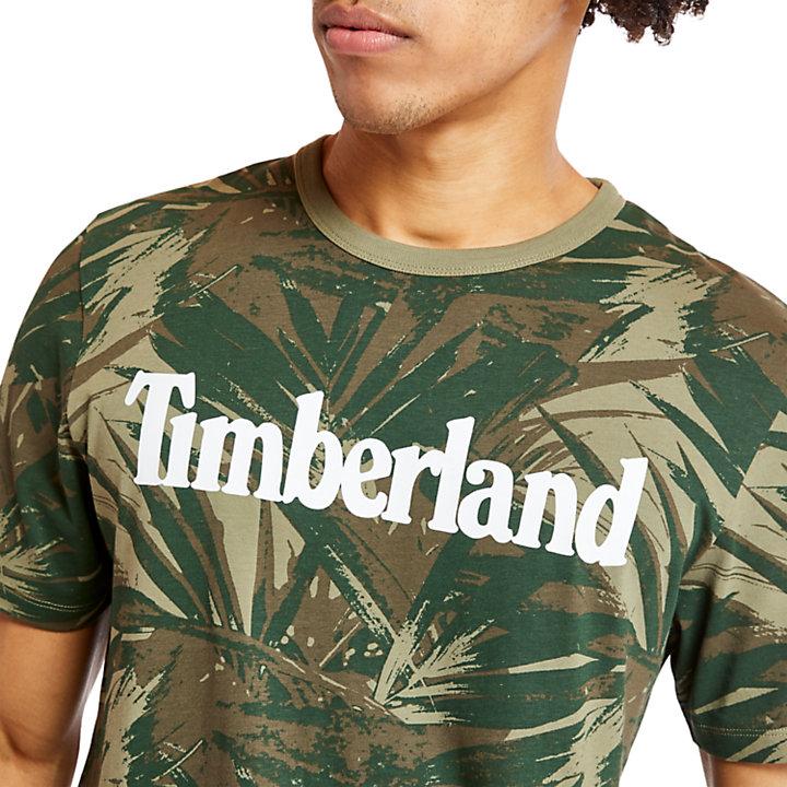 T-shirt da Uomo Linear Camo in verde scuro-