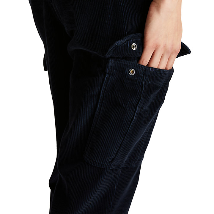 Corduroy Cargo Trousers for Men in Navy-