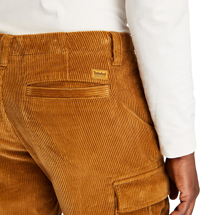 Corduroy Cargo Trousers for Men in Brown-
