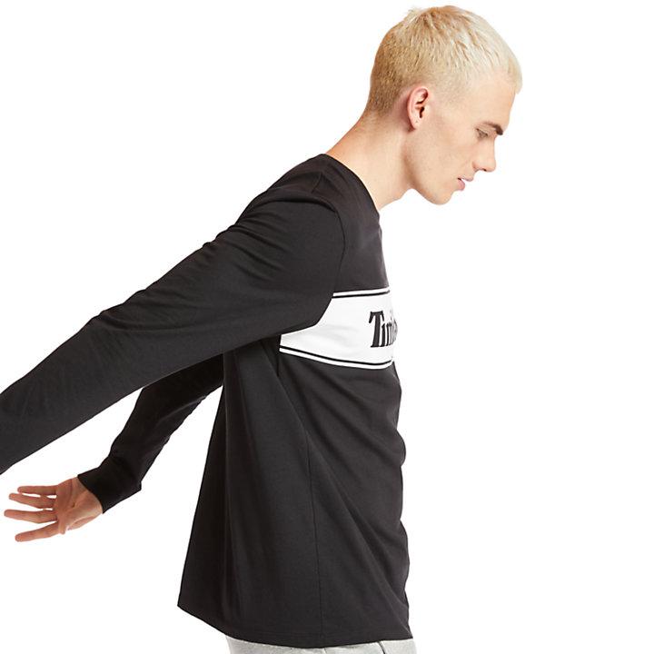 Camiseta de Manga Larga con Logotipo Lineal para Hombre en color negro-