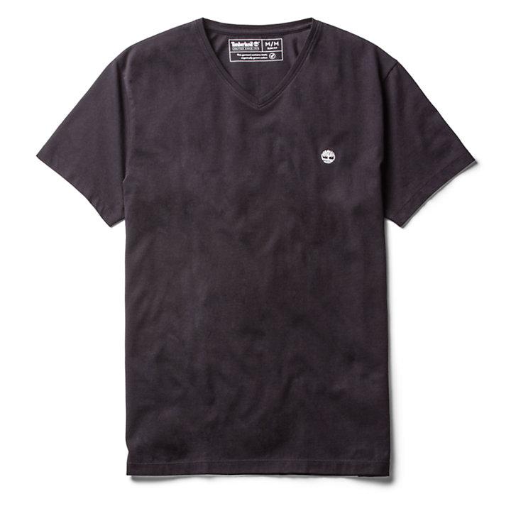 T-shirt à col en V pour homme en noir-