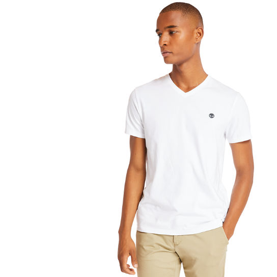 V-Neck T-Shirt for Men in White | Timberland