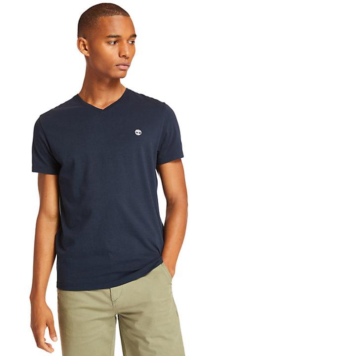 Camiseta con Cuello de Pico para Hombre en azul marino-