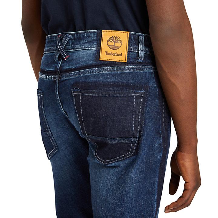 Tapered-leg Comfort Jeans for Men in Dark Blue-