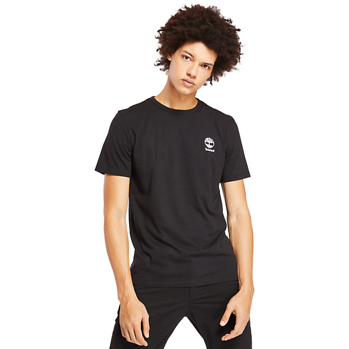 Camiseta con Estampado Rectangular para Hombre en color negro-