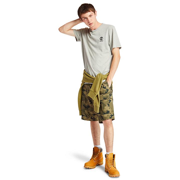 Camiseta con Estampado Rectangular para Hombre en gris-