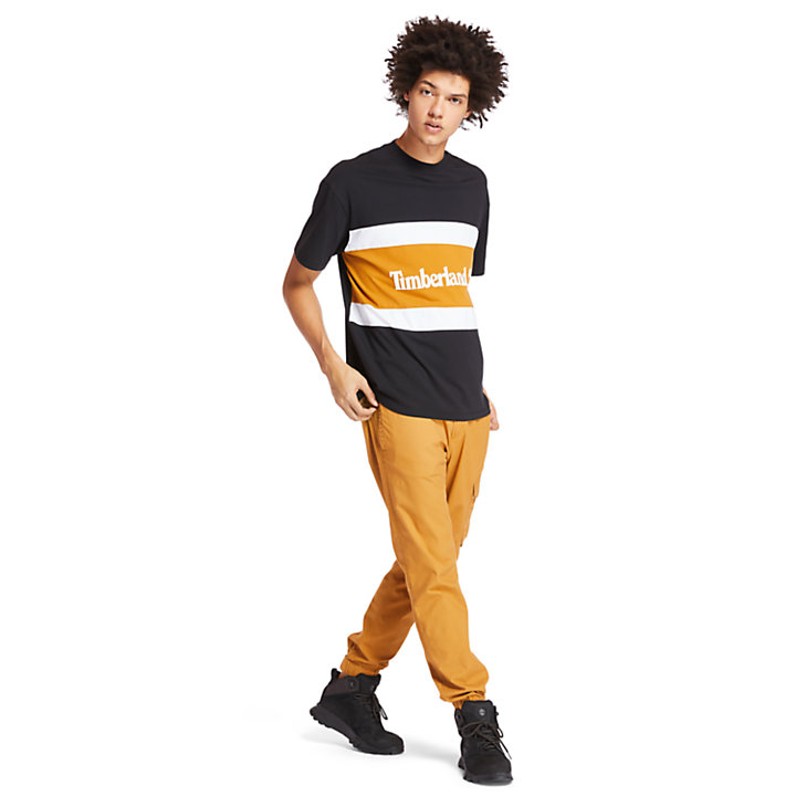 Colourblock Logo T-Shirt for Men in Black/Grey-