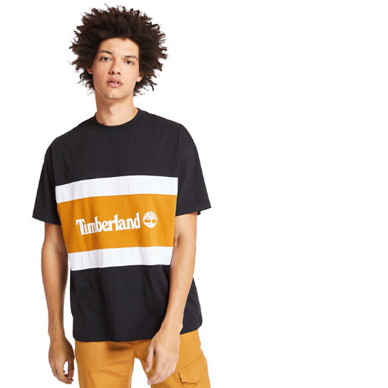 Colourblock Logo T-Shirt for Men in Black/Yellow | Timberland