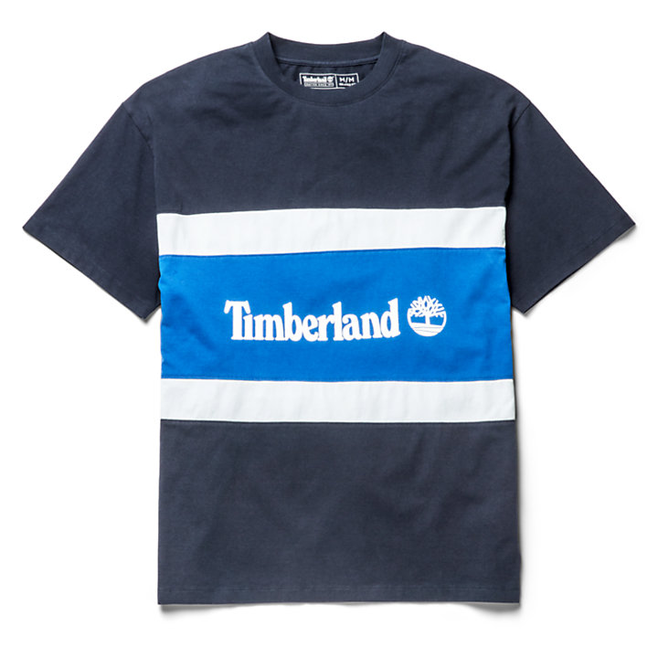 Colourblock Logo T-Shirt for Men in Navy/Blue-