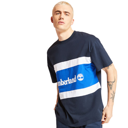 Colourblock Logo T-Shirt for Men in Navy/Blue | Timberland