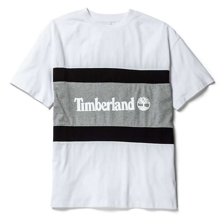 Colourblock Logo T-Shirt for Men in White/Grey-