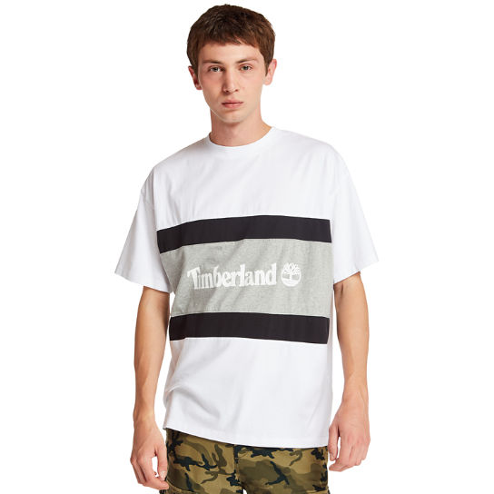 Colourblock Logo T-Shirt for Men in White/Grey | Timberland