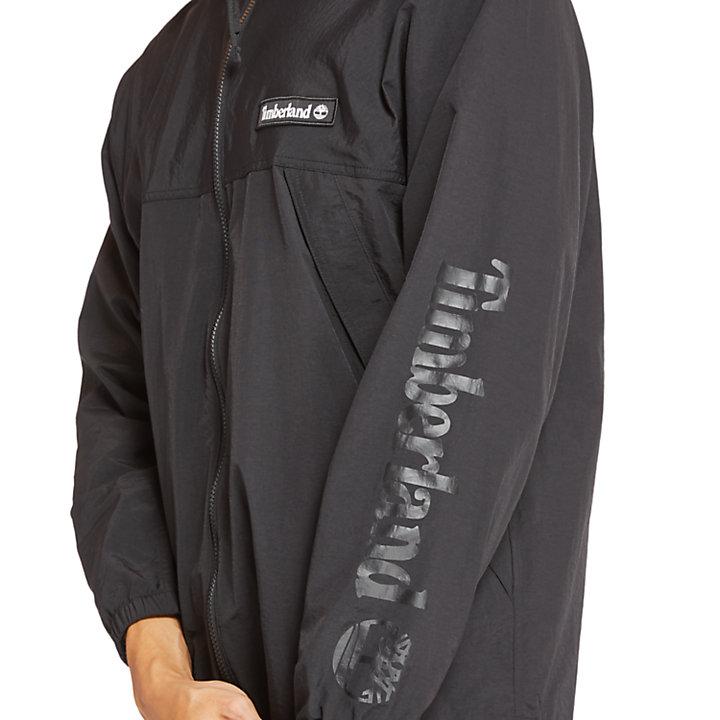 Full-Zip Windbreaker for Men in Monochrome Black-
