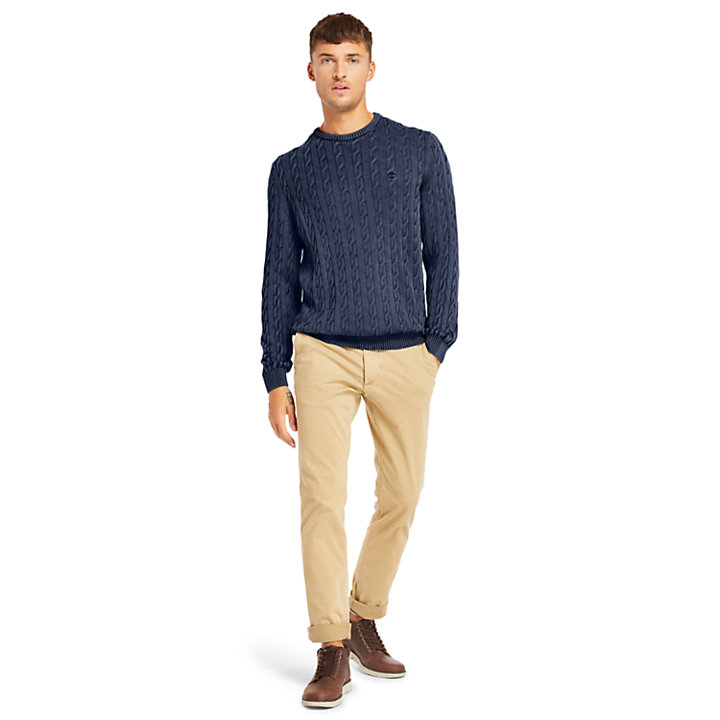 Manhan River Cable Sweater for Men in Navy-