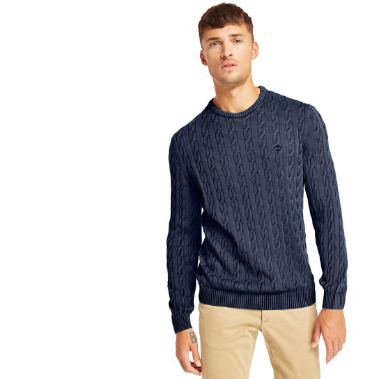Manhan River Cable Sweater for Men in Navy | Timberland