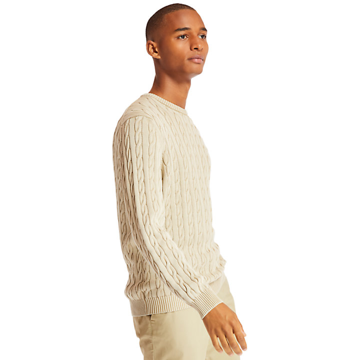 Manhan River Cable Sweater for Men in Beige-