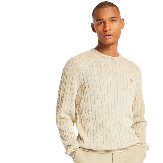 Manhan River Cable Sweater for Men in Beige | Timberland