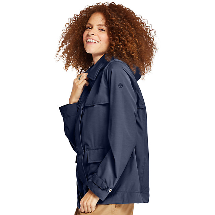 Short Trenchcoat voor Dames in marineblauw-
