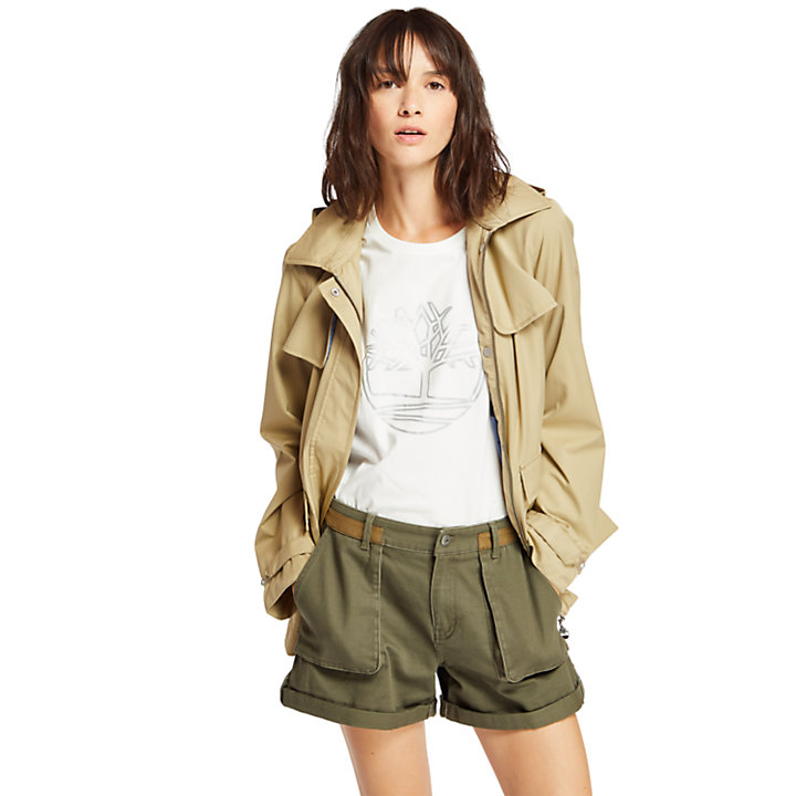 Short Trench Coat for Women in Beige-