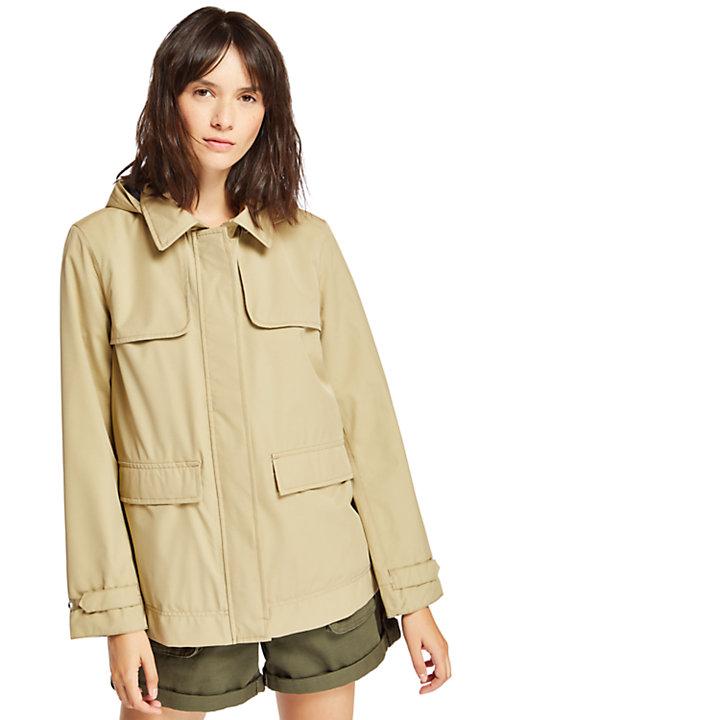 Trench-coat court pour femme en beige-