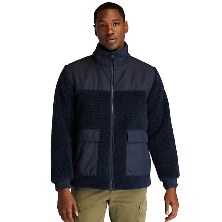 Ecoriginal Fleece van imitatielamswol voor heren in marineblauw-