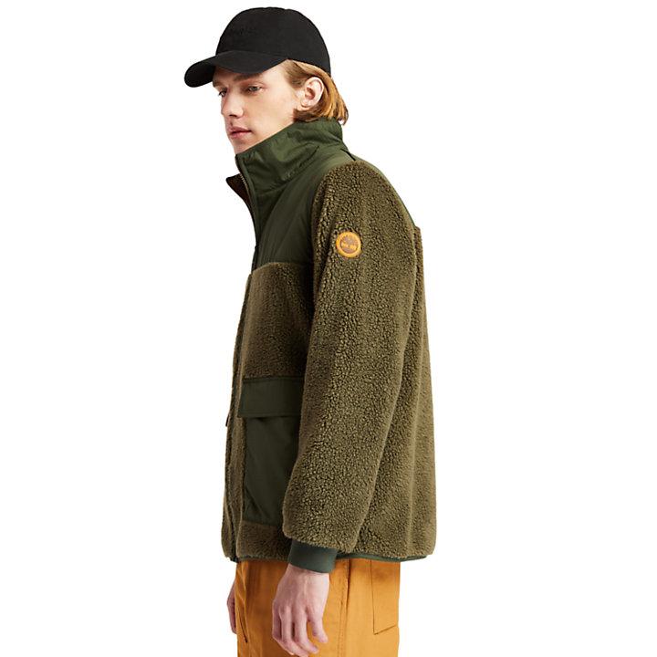 Ecoriginal Fleece van imitatielamswol voor heren in donkergroen-