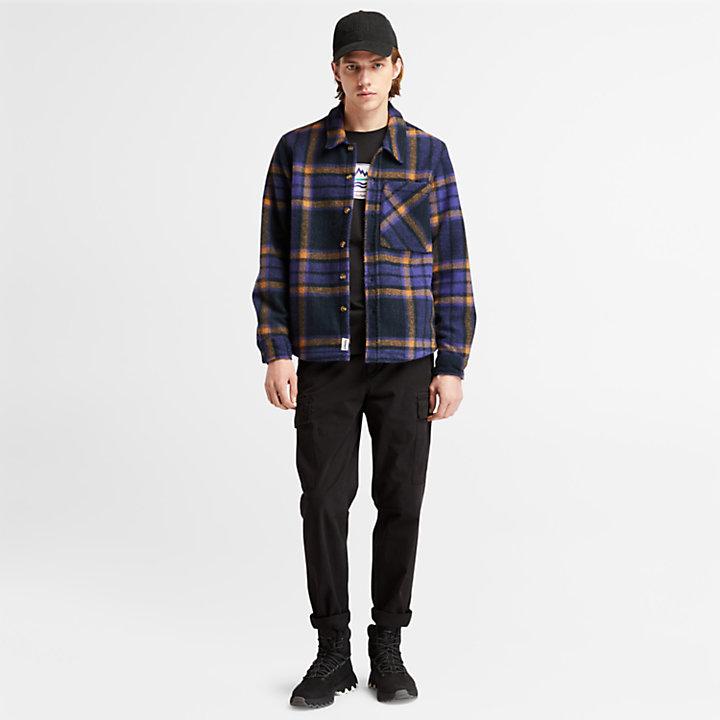 Check Fleece Overshirt for Men in Dark Blue-