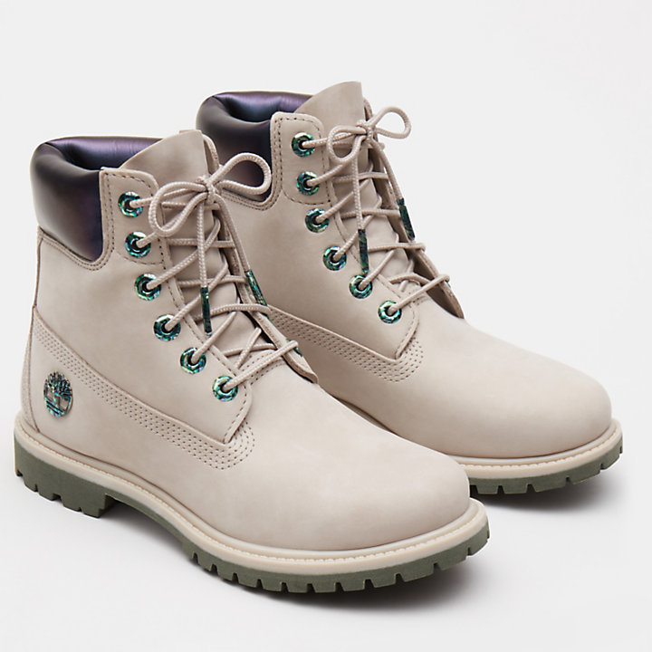 6 Inch Iridescent Premium Boot voor Dames in beige-