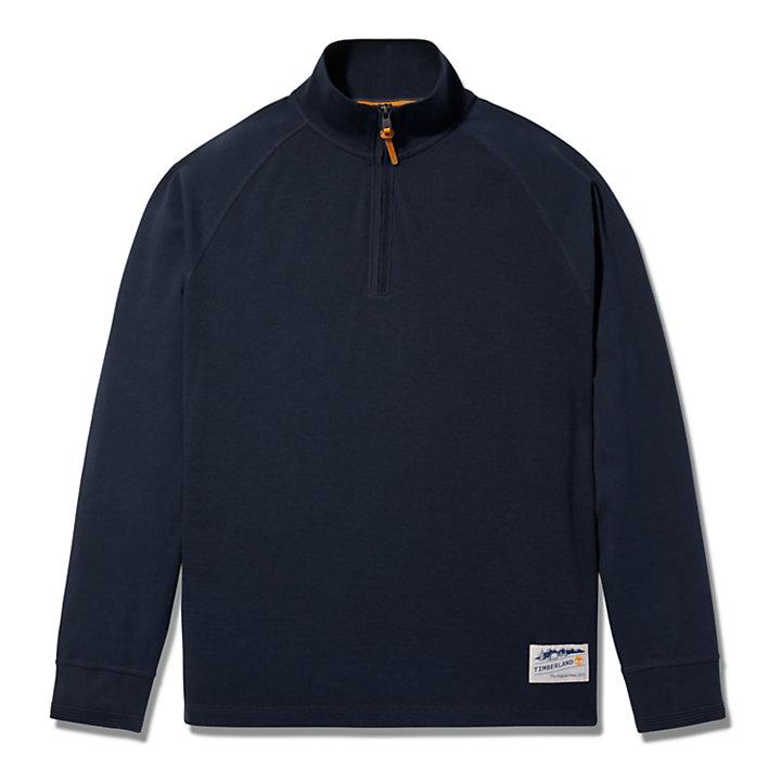 Jersey con Cuello de Polo en Mezcla de Materiales para Hombre en azul marino-