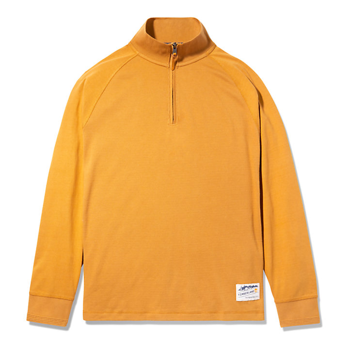 Pullover aus Materialmix mit Polokragen für Herren in Gelb-