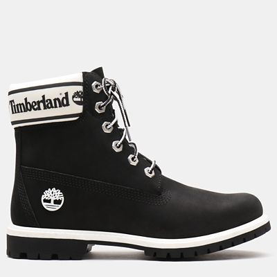 6+Inch+Logo+Collar+Boot+for+Women+in+Black