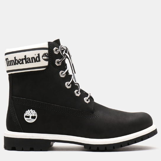 6 Inch Logo Collar Boot for Women in Black | Timberland