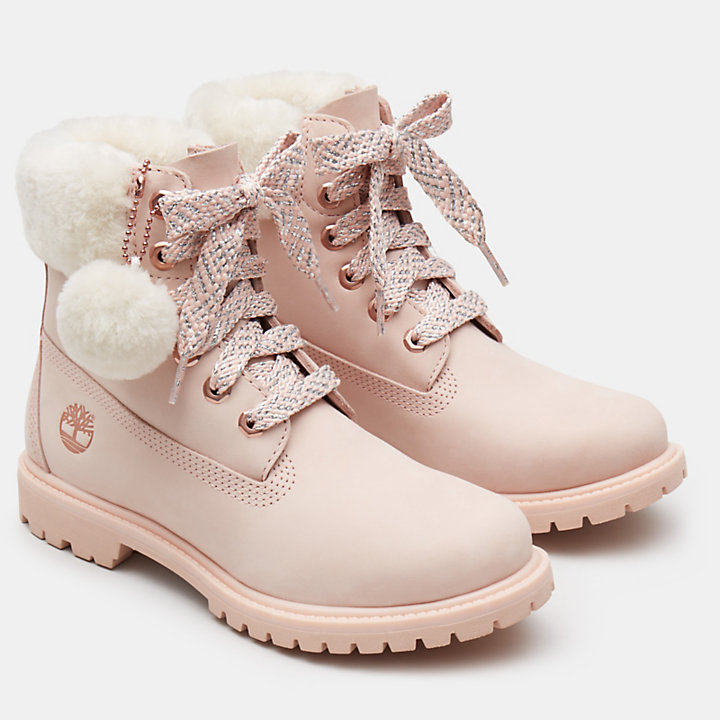 6 Inch Shearling Boot for Women in Pink-