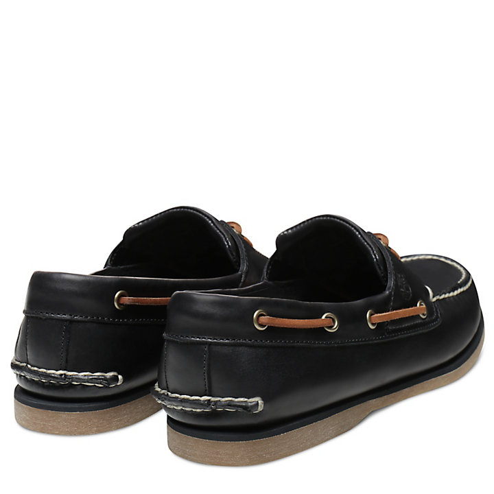 Classic 2-Eye Boat Shoe for Men in Black-