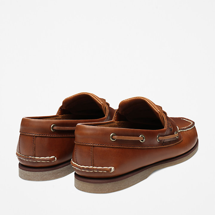Classic 2-Eye Boat Shoe for Men in Medium Brown-