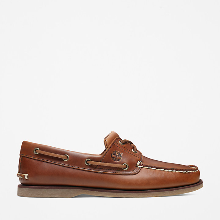 Classic Full-grain Boat Shoe for Men in Light Brown-