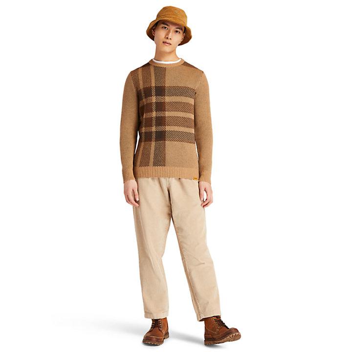 Pull à col rond en intarsia EK+ pour homme en marron-