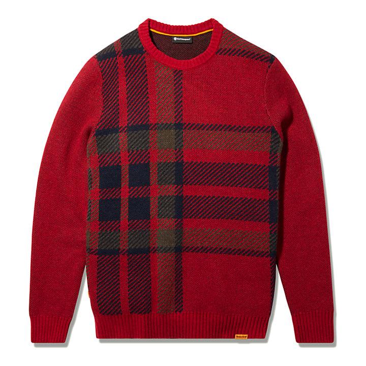 EK+ Intarsia Crewneck Sweater for Men in Red-