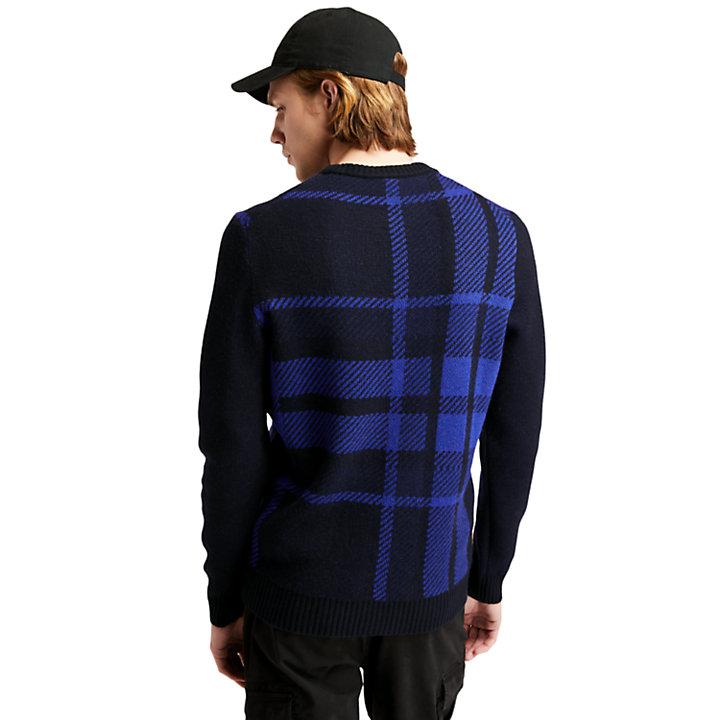 EK+ Intarsia Crewneck Sweater for Men in Blue-